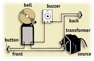 Use this system  for wiring for a buzzer to the back door and a bell to the front door.