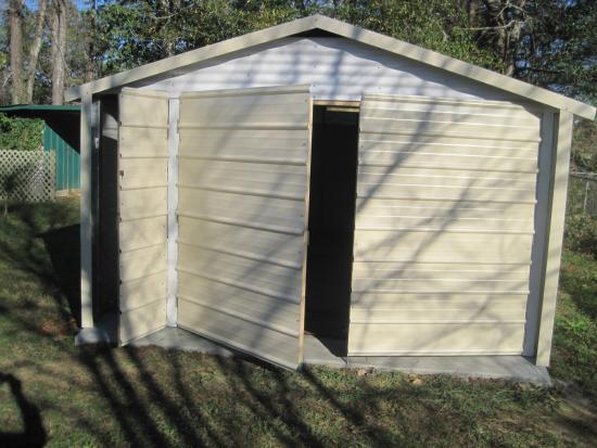 Superb Enclosed Steel Carport W/double Doors Plus Single Entry Door