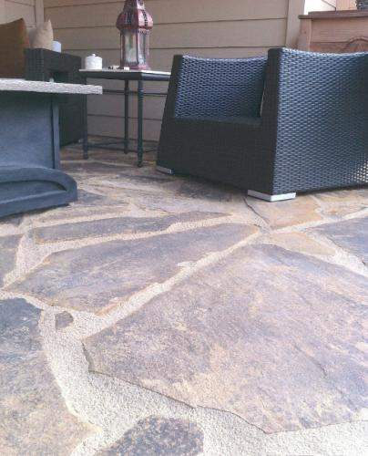 Flagstone Placed On A Concrete Patio