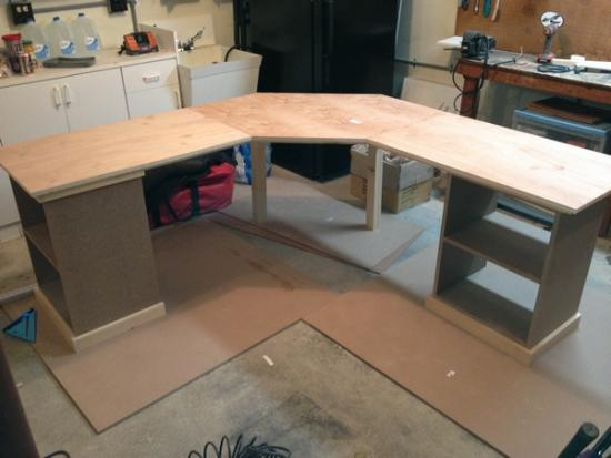Custom Corner Desk with drawers, pullout keyboard and shelves    DoItYourself.com