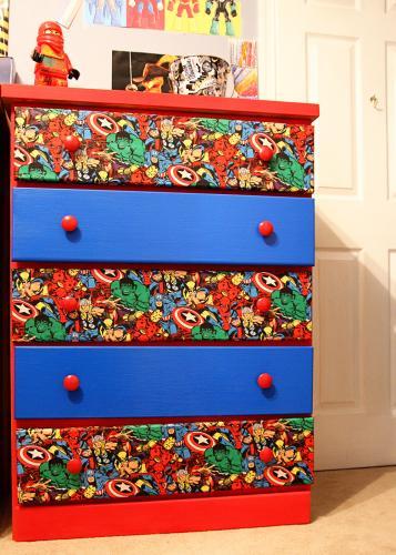 Superhero dresser for Do it yourself boys bedroom ideas